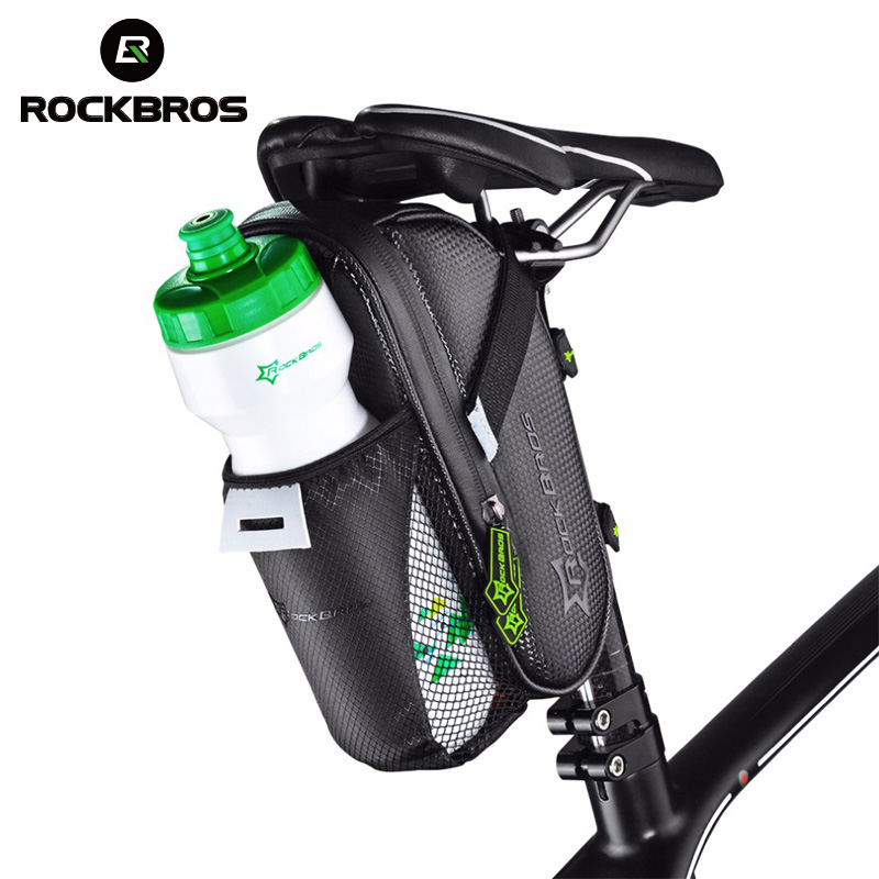 ROCKBROS Rainproof Bike Bicycle Rear Bag With Water Bottle Pocket Bicycle Tail Seat Saddle Bag Reflective Pouch Bike Accessories|rear bag|saddle bag|pouch bike - title=