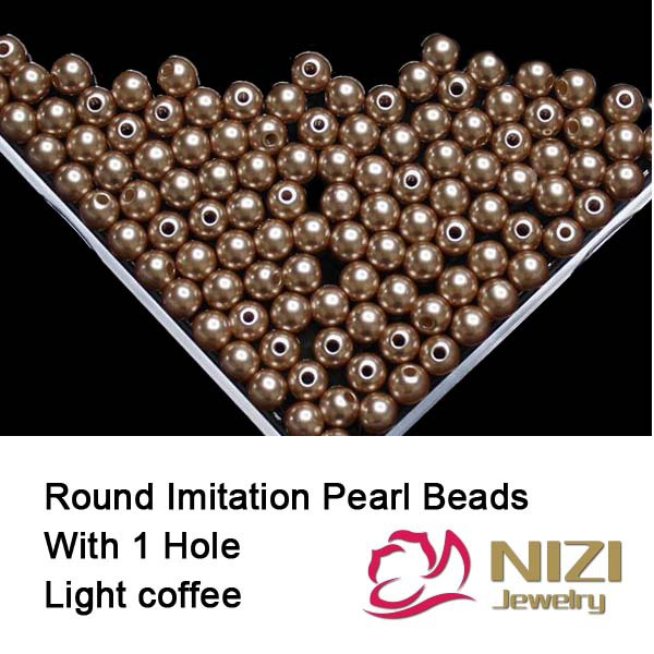 Wholesale Light Coffee Imitation Pearl Beads For DIY Accessory 6mm 8mm 10mm Resin Round Imitation Pearl Beads With Hole 100g/bag new resin pearl beads 6mm 8mm 10mm resin round dark coffee imitation pearl beads with hole 100g bag perfect for diy decoration