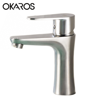 OKAROS Bathroom Basin Faucet Faucet SUS 304 Stainless Steel Nickel Brushed Hot Cold Water Tap Mixer Single Handle Torneira M068