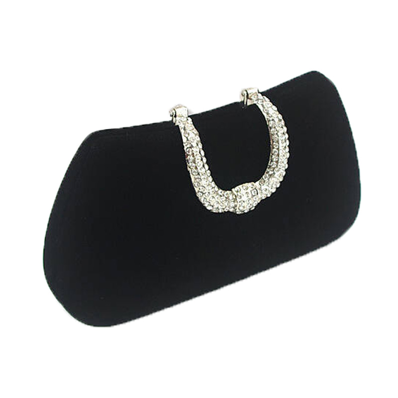 Top Quality Suede Clutch Bag U Shape Diamond Velvet Evening Bags Luxury Women Purse Handbags With Chains Wedding Party W107 In Clutches From Luggage