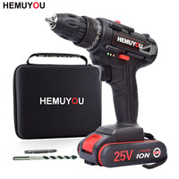 25V Electric Drill Home Multifunction Electric Screwdriver Cordless Drill 2 Battery + Cloth Tool Bag