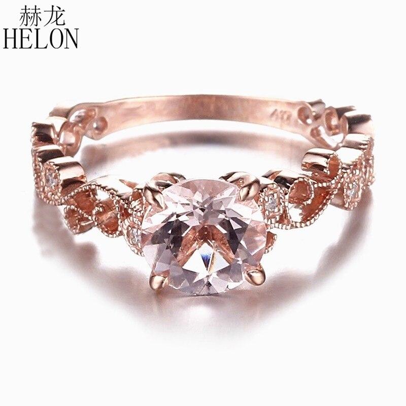 HELON 7mm okrągły różowy Morganite stałe 14KT różowe złoto SI/H naturalne diamenty pierścionek zaręczynowy ślub elegancka sukienka w stylu Vintage pierścień fine Jewelry w Pierścionki od Biżuteria i akcesoria na  Grupa 1