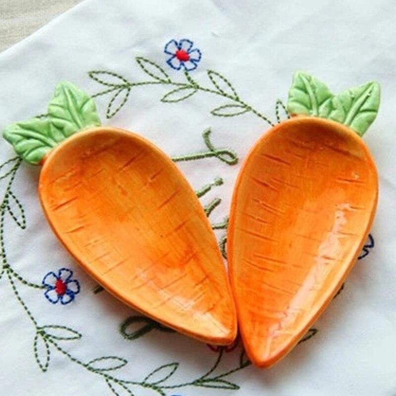 1pc Cartoon Carrot Rabbit Ceramic Small Dish Home Soy Sauce Creative Japanese Tableware Seasoning Saucers