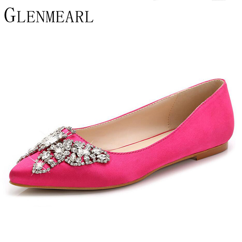 2018 Wedding Women Flats Shoes Spring Autumn Brand Pointed Toe Rhinestone Heel Shallow Single Flat Female Shoes Plus Size ZK3.5 pu pointed toe flats with eyelet strap