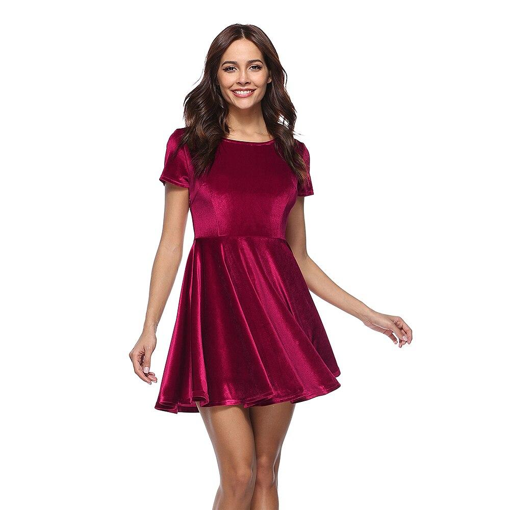 ZEBERY Elegant Fashion Velvet Ripple Short Sleeve Dress For Woman Vestido Female Wine Red Green Blue Ball Dress