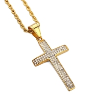 Cross Pendant Charm Necklace 24 Rope Chain Hiphop Bling Bling Crucifix Necklace Iced Out Micro CZ