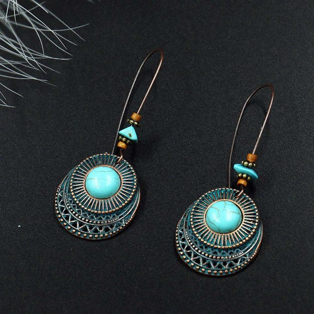New Design Vintage Antique Round Blue Stone Hollow Dangle Earrings Fashion Jewel