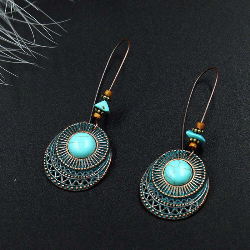 New Design Vintage Antique Round Blue Stone Hollow Dangle Earrings Fashion Jewelry For Women ...