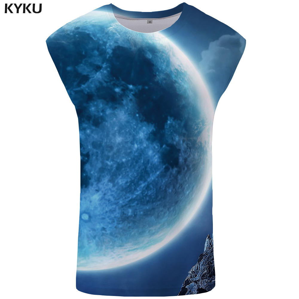 KYKU Brand Wolf   Tank     Top   Men Planet Mens Bodybuilding Moon Undershirt Rock Stringer Blue Vest Singlet Sleeveless Shirt   Tops