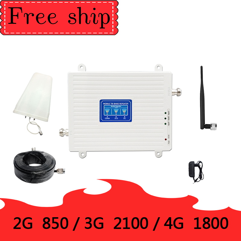 Gain70dB 850/1800/2100mhz CDMA WCDMA UMTS LTE Cellular Repeater  Amplifier 2g/3g/4g Tri Band Signal Booster 5dbi Whip Antenna