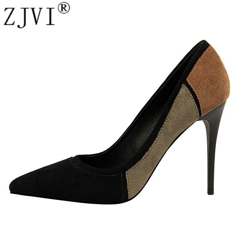 be136123 Zjvi naranja Moda Las Tacones Mujer Para Negro Cm púrpura Mujeres 5 verde  De azul Otoño Puntiaguda 10 Colores Mezclado Alta rojo Zapatos ...