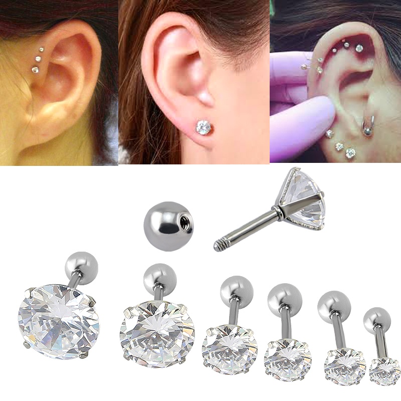 Anting-Anting Fashion Perhiasan Empat Prong Set Batal CZ16G Tragus Ear Stud Earrings Wanita Mode Ear Piercing Stud Earring pendient