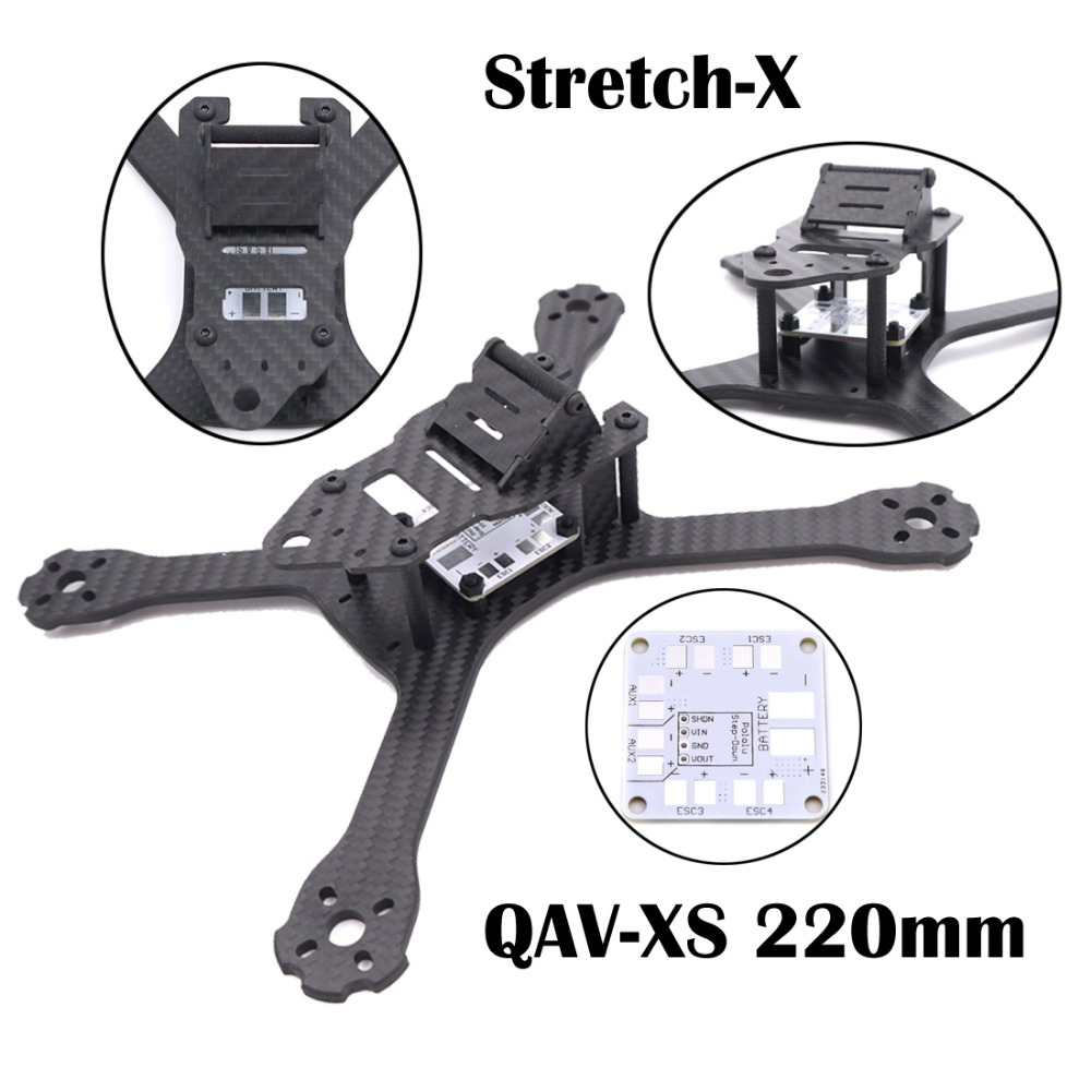 все цены на QAV-XS Carbon Fiber 220 220mm Stretch-X Quadcopter Frame Kit 4mm Arm + PDB Board for FPV Racing Drone QAV-X 214 QAV-R 220 GEP-TX онлайн