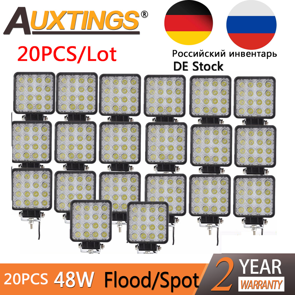 Auxtings 20pcs/Lot Waterproof 48w Flood/Spot Led Work Light Bar Waterproof CE RoHS Offroad Truck Car LED Work Light 12v 24v