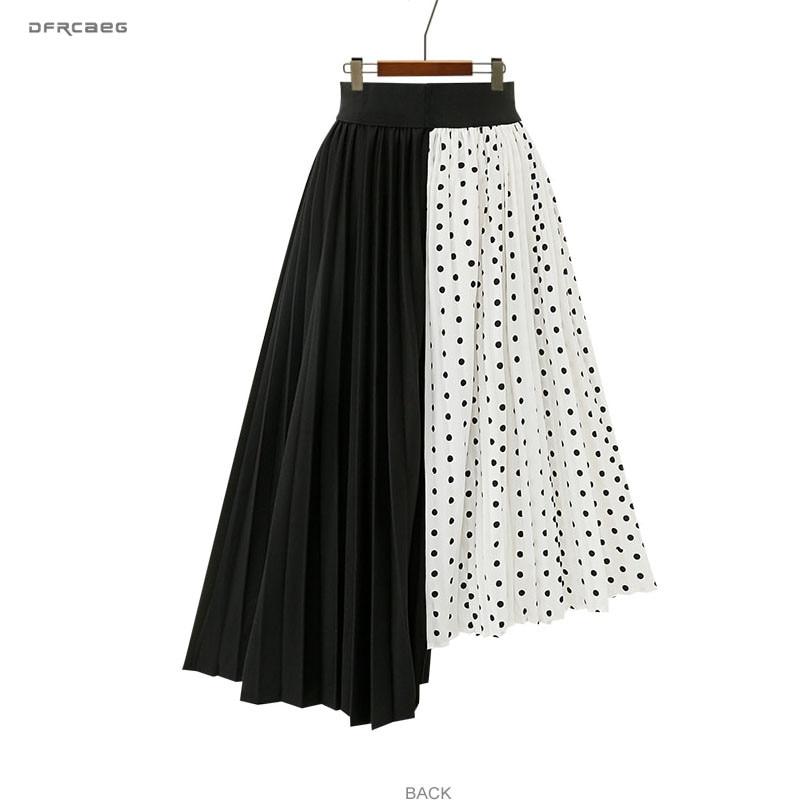5XL Plus Size Paychwork Chiffon Skirts Womens 2019 Summer Elastic Waist Polka Dot Irregular Beach Long Skirts Femme Saia Midi
