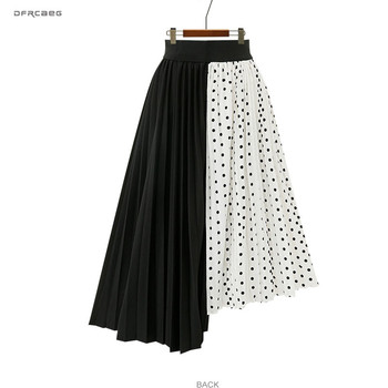 5XL Plus Size Paychwork Chiffon Skirts Womens 2019 Summer Elastic Waist Polka Dot Irregular Beach Long Skirts Femme Saia Midi jvcake women skirts new plus size women s ruffled polka dot chiffon skirts 2020 summer women skirt 5xl skirts womens