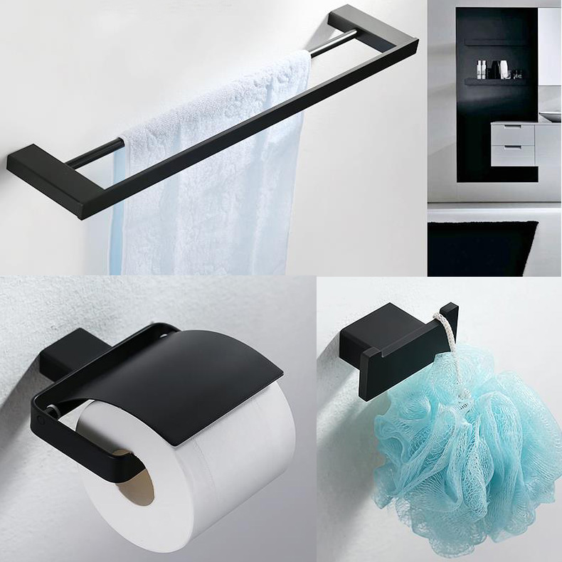 Merdeka Brand 3 Piece  House Hardware Black Series Stainless Steel Bathroom Accessory Set Paper Holder Towel Bar Robe Hook leyden towel bar towel ring robe hook toilet paper holder wall mounted bath hardware sets stainless steel bathroom accessories