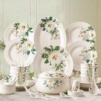 28 шт набор посуды комплекты bowl блюда Суповая тарелка наборы мисок расписанную фарфоровая кухонная посуда