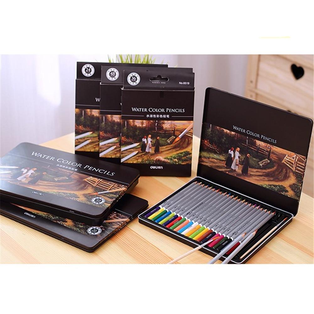 steel box 24/36/48/72 colors pencil water color pencils painting colorful watercolor pen student supplies paint pencil