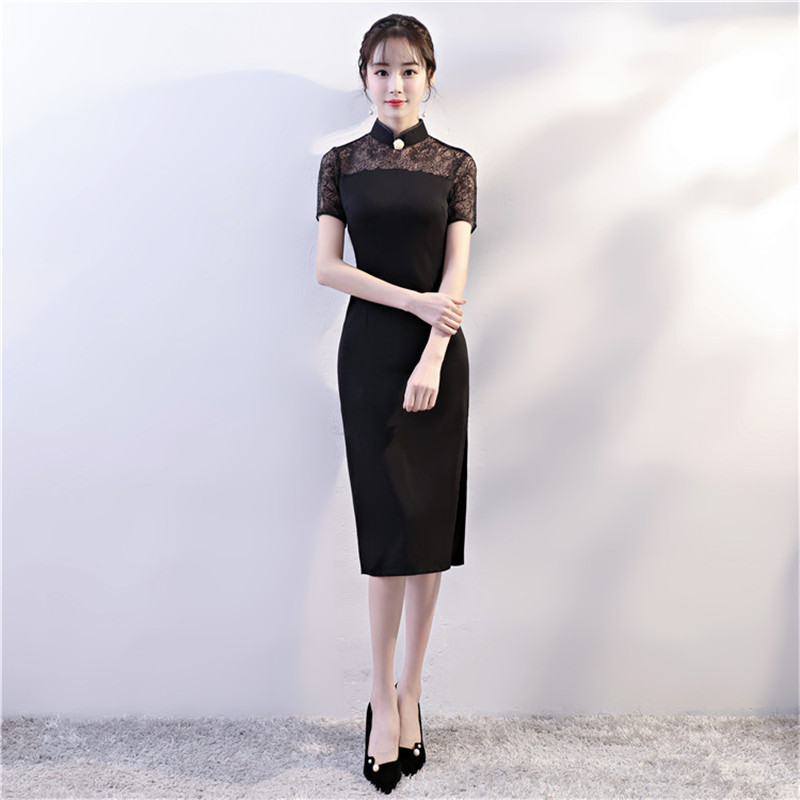 Black Vintage Women Chinese Slim Dress Novelty Roman Cloth Lace Sexy ... ddb15254991d