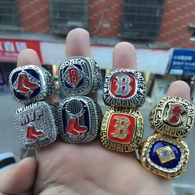 1Set 8pcs Boston Red Sox World Series Championship Ring Gifts For Men !