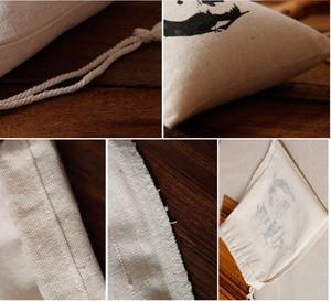 """Image 5 - 100 personalisierte Logo Leinen tasche 9x12cm (3 4/8 """"x 4 6/8"""") druck käufer design oder unternehmen Shop Name Jute Geschenk Tasche"""