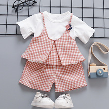 Summer New girl set cotton top plus skirts sweet three childrens kids clothes