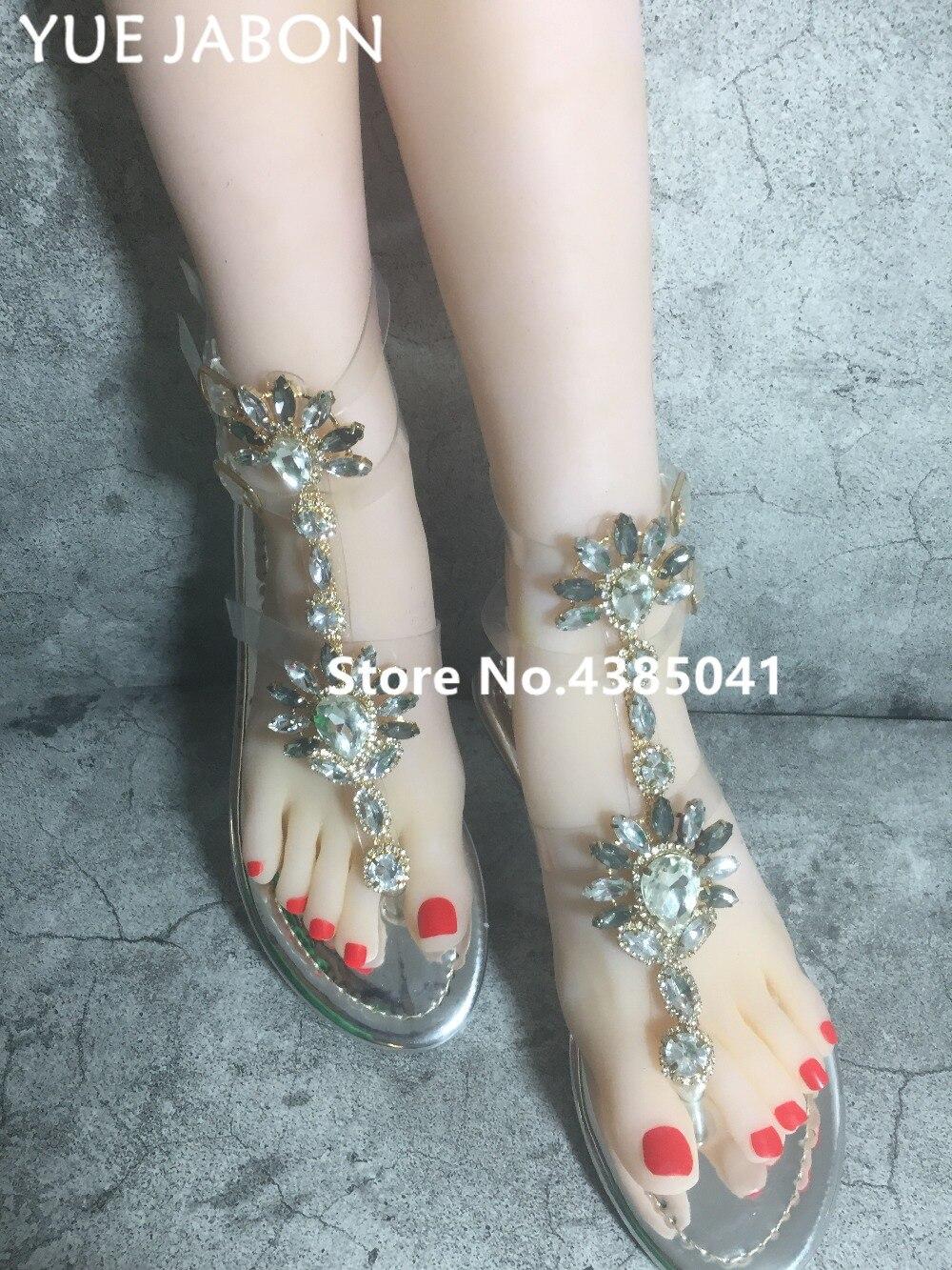 HTB1KvMZAoR1BeNjy0Fmq6z0wVXaT 2019 Woman Sandals Women Shoes Rhinestones Gladiator Flat Sandals Crystal Chaussure Plus Size 43 tenis feminino Green Flip Flops