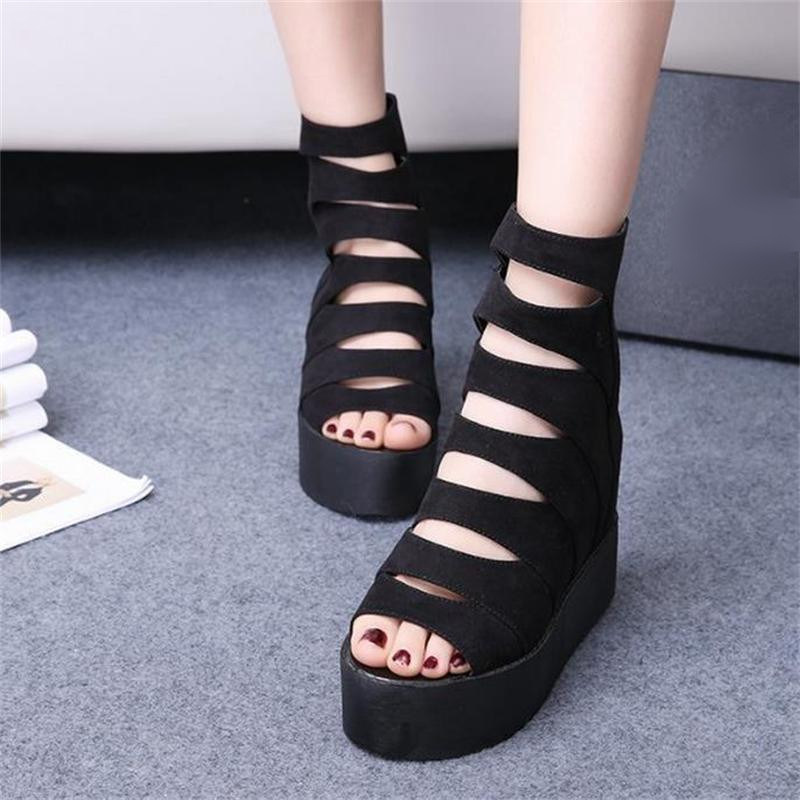 Summer Wedges Height Increasing Sandals Female Shoes Woman Platform Shoes Flip Flops Open Toe High Heeled Shoes 2017 New Fashion women sandals 2017 summer style shoes woman wedges height increasing fashion gladiator platform female ladies shoes casual