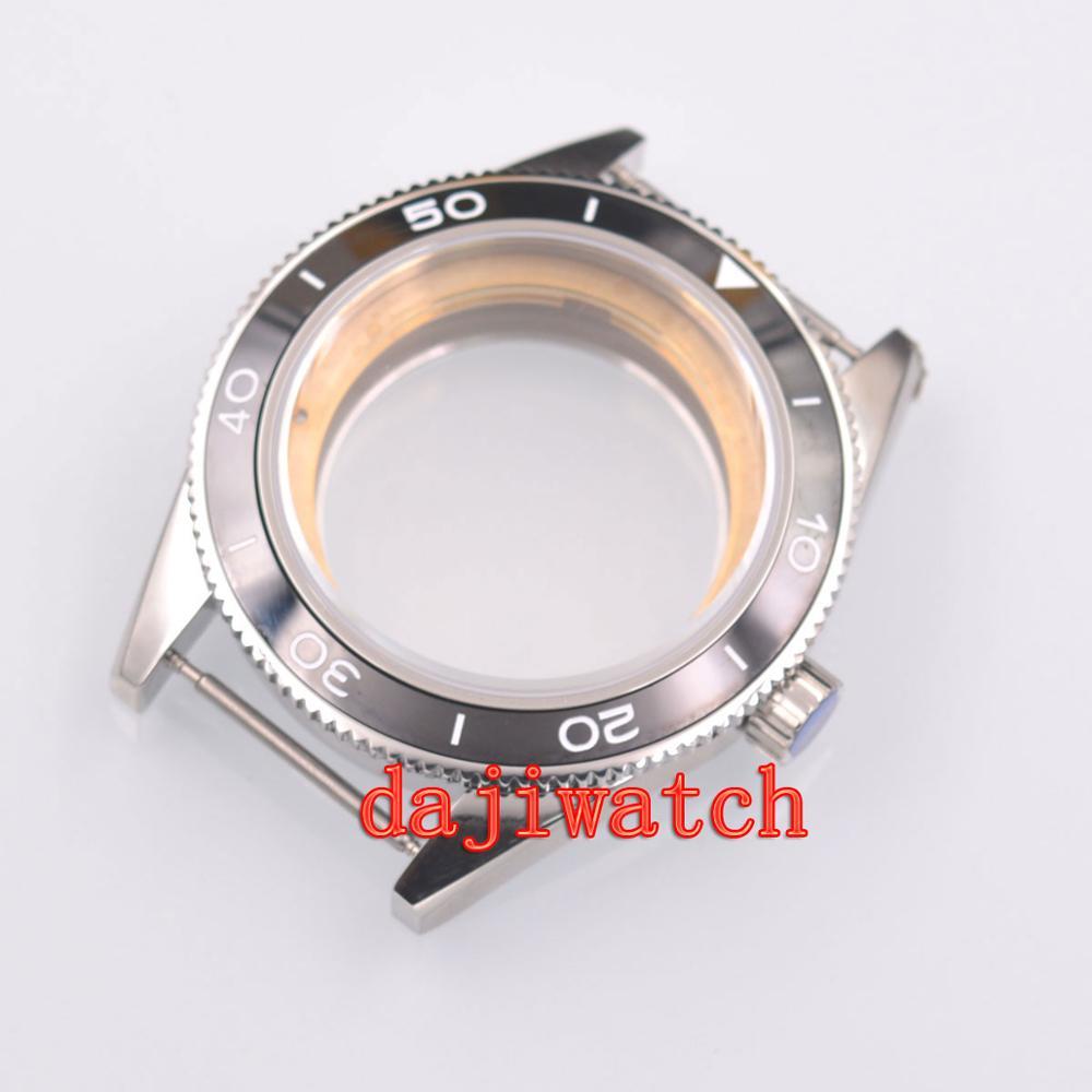 41mm saphir verre brossé boîtier en céramique lunette ajustement ETA 2824 2836 mouvement-in Montre Visages from Montres    1