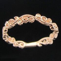 Solidna 10K różowego złota ramka zestaw naturalnych diamentów Vintage zaręczynowy ślub świąteczny prezent opaska pierścieniowa Art Deco biżuteria kobiety zespół