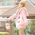 Зимние женщин Девушка Мягкий Прекрасная Уха Кролика С Капюшоном Кнопка Пальто Розовый/Белый Пальто