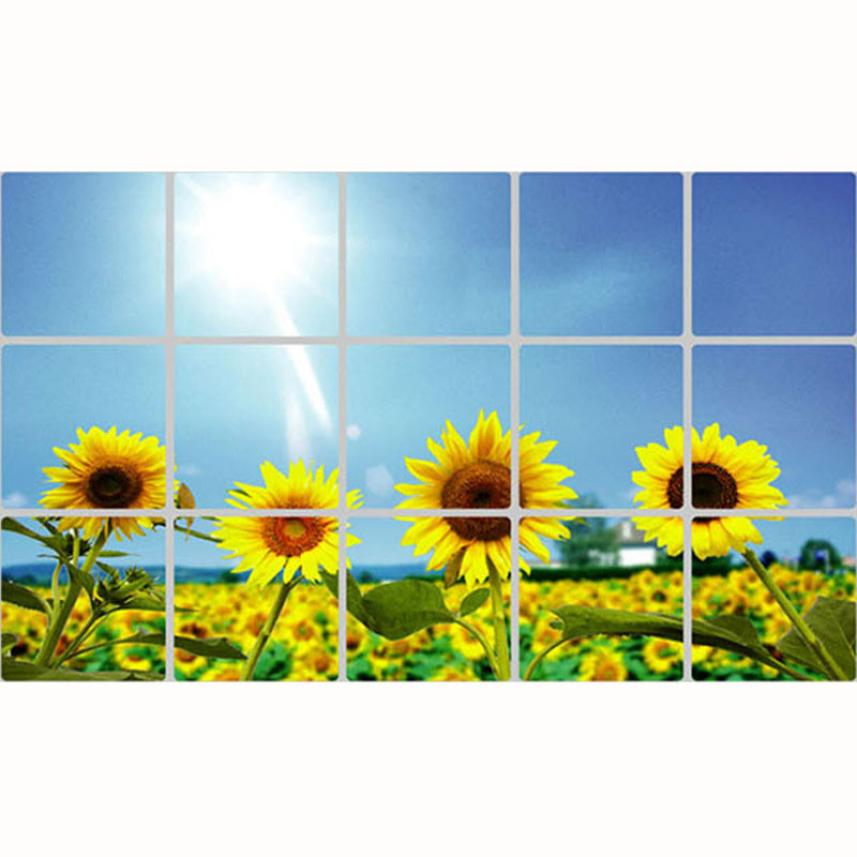 Removable Diy Kitchen Decor House Decals Aluminum Foil Wall Sticker Kitchen Oil Sticker Sunflower Photo Wall