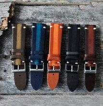 цена на Watch Strap Band Leather Retro Handmade Wristband 18mm 20mm 22mm 24mm High Quality Watchband Watch Strap Belts Men Women KZTS02