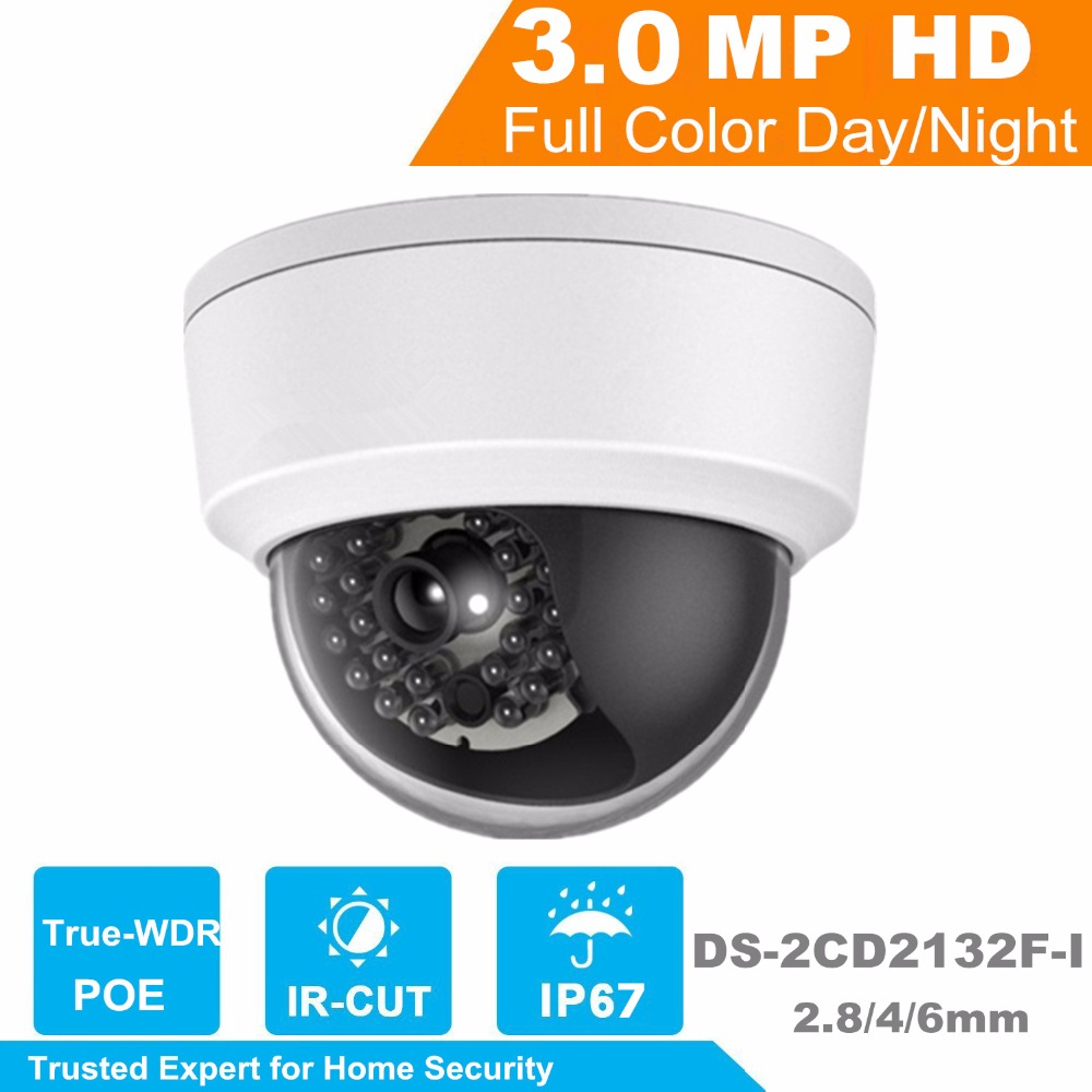 Wholesale Newest  English Version IP Camera  DS-2CD2132F-I 3MP Mini IR Dome Camera 1080P POE IP CCTV Camera Color Box калькулятор настольный assistant ac 2132 8 разрядный ac 2132