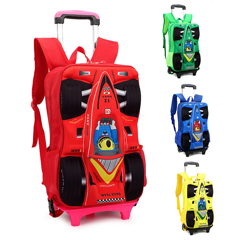 Children Trolley School Bag Children's Cartoon Car Stereo Rod Rolling Suitcase Luggage Kids 3D Bags Backpacks - Bag's Heaven store