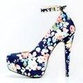 Mujeres hermosas Bombas de Plataforma de La Moda Punta Redonda Tacones Finos Bombas Zapatos de Mujer Azul de Alta Calidad Más El Tamaño EE.UU. 4-15