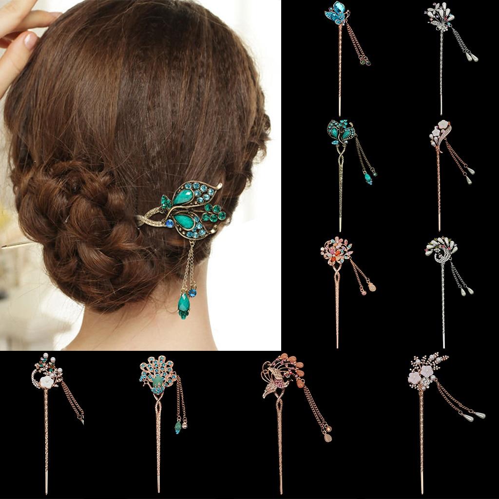 Chinese Hair Sticks Rhinestone Dangle Chopsticks Hairpin Decorative Flowers Metal Hair Stick Clips