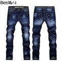 Beswlz Nova Chegada calças de Brim Dos Homens Calças Moda Casual Clássico Denim Jeans calças de Brim Dos Homens Magro Masculino 6128