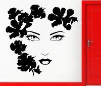 Sexy Girl Face Flowers Beauty TV Music Wall Art Movies Vinyl Decal Sticker