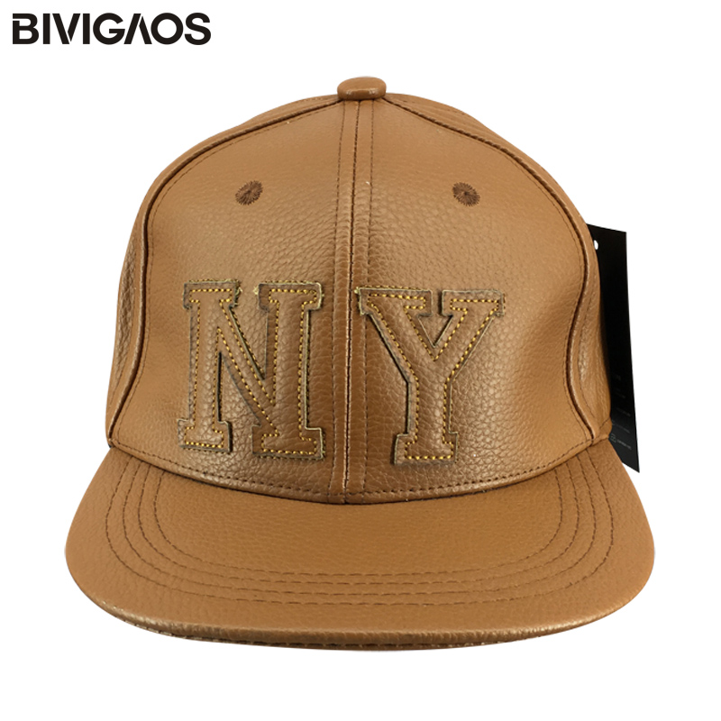 2016 New Fashion Autumn Winter Snapbacks Thick PU Leather NY Letters Hip Hop Cap Casual Baseball Caps Bones Gorras For Men Women new 2017 fashion unisex cap bones baseball cap snapbacks hat simple hip hop cap casual sports female hats wholesale