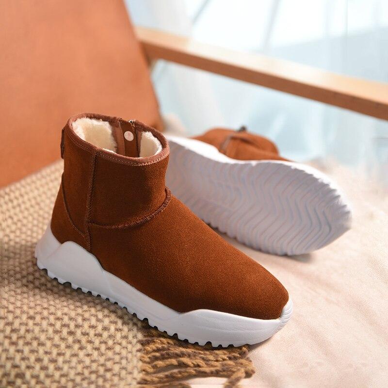 Beautoday 여성 스노우 부츠 브랜드 최고 품질 정품 가죽 암소 스웨이드 지퍼 클로저 겨울 레이디 발목 부츠 수제 08012-에서앵클 부츠부터 신발 의  그룹 3