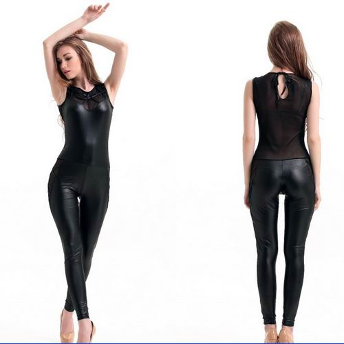 Sexy Lingerie Latex Dress back bowknot latex jumpsuit Zentai Costume Women zentai black leather Catsuit Lady Nightclub Bodysuit