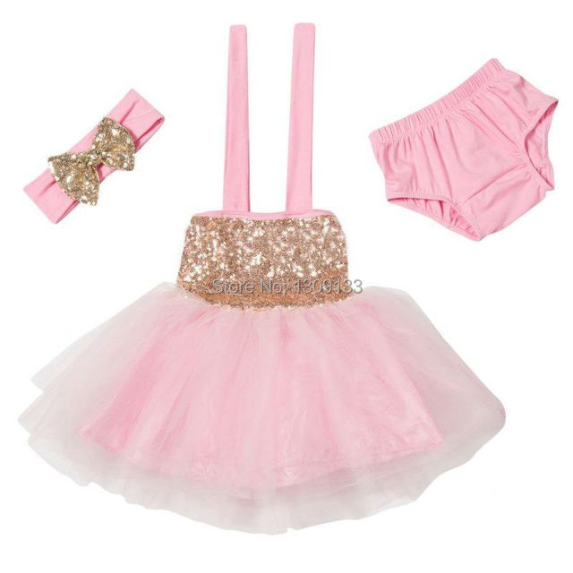 72b7ea2699e Baby Glitter Gold Sequin Dress Sparkle Tutu Dress with Headband Bloomer Set