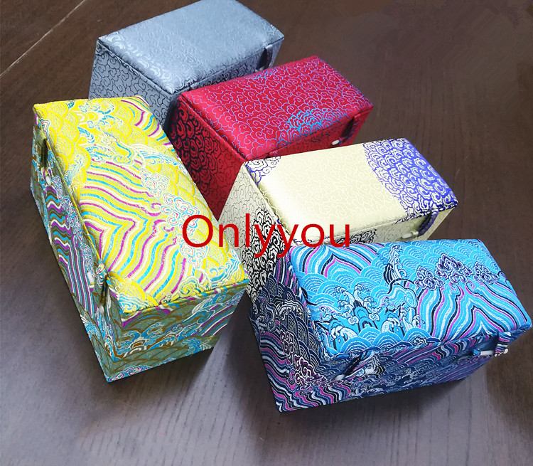 Luxury Rectangle Jewelry Wooden Storage Box Decoration Crafts Stone Collection Packaging Box Chinese Silk Fabric Box 17x8x8 cm in Jewelry Packaging Display from Jewelry Accessories