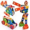 Regalos del bebé De Madera DIY Assemblage Funde Camiones Kids Niños juguetes Educativos de Dibujos Animados de Robots Juguetes Tuerca Vehículo Criatura Bloques ZS074