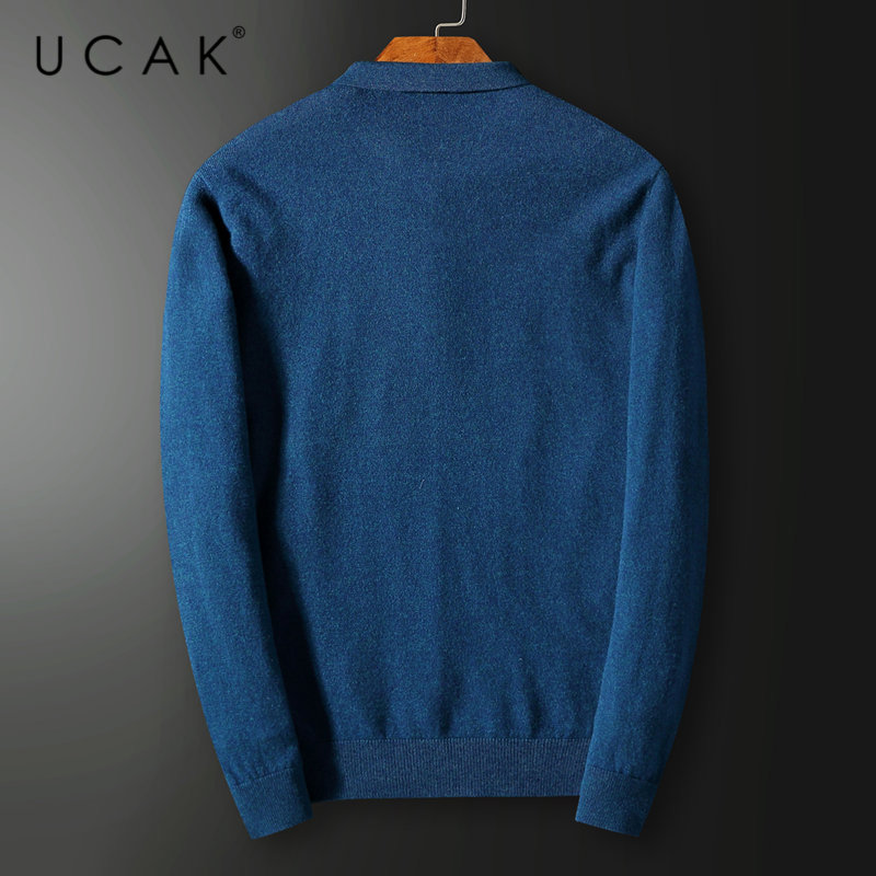 UCAK Brand Merino Wool Sweater Men Autumn Winter Cashmere Sweaters Streetwear Button Small Collar Pull Homme Pullover Men U3027 in Pullovers from Men 39 s Clothing