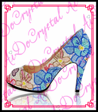 Aidocrystal peep toe handmade fashion colorful 10cm crystal high heel shoes with flower
