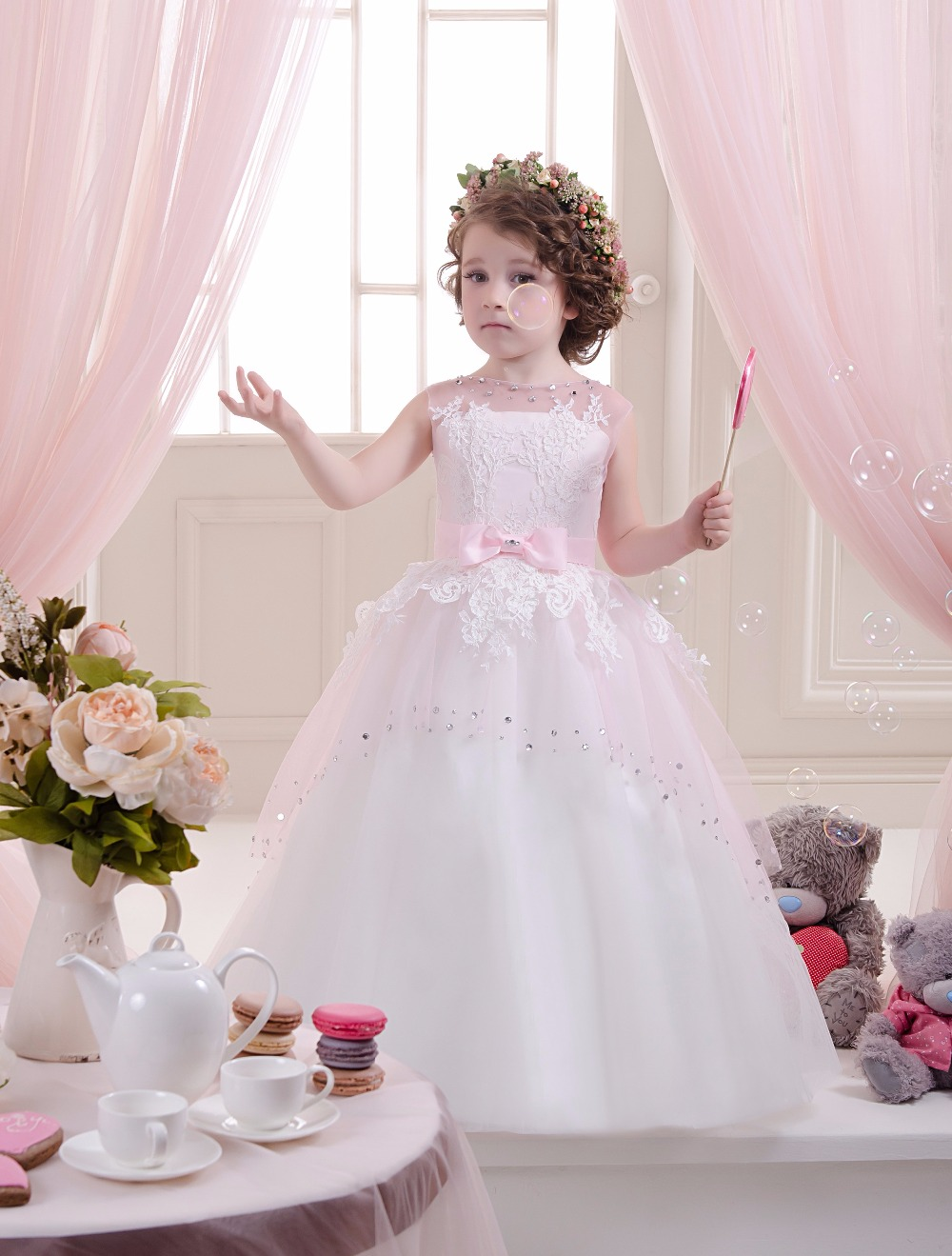 Sleeveless Holy Communion Infant Kids Pink Floor Length Lace Satin Gowns 0-12 Year Flower Girls Kids Dresses with Bow Belt