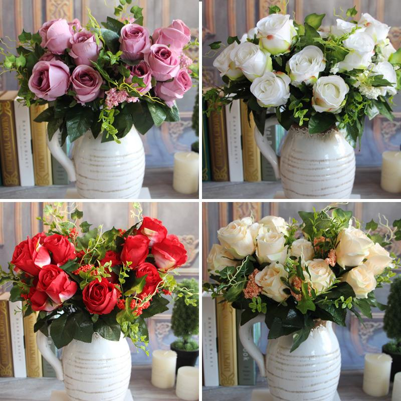 New Charming Beautiful Pretty Artificial 9 Heads Spring Rose Flowers Floral Home Hotel Desk Party Decor